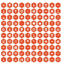 100 space technology icons hexagon orange vector