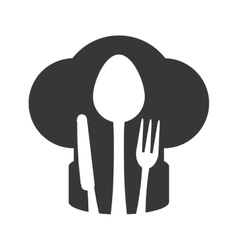 Chefs hat cutlery kitchen restaurant icon vector