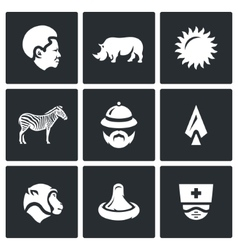 Set of Africa Icons African Animal Heat vector image