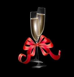 two glasses of champagne and red bow vector image