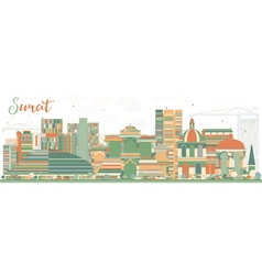 Abstract surat skyline with color buildings vector