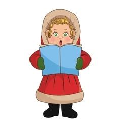 Singing cartoon of christmas carol design vector