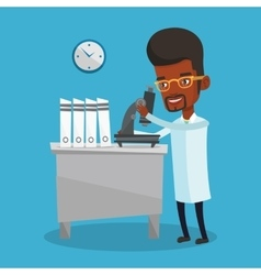 Laboratory assistant with microscope vector