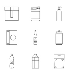Pack icons set outline style vector image