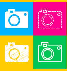 Digital camera sign four styles of icon on four vector