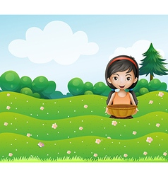A girl with a basket at the hill vector