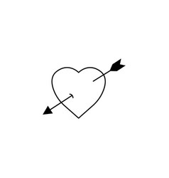 Heart with arrow solid icon love sign valentines vector
