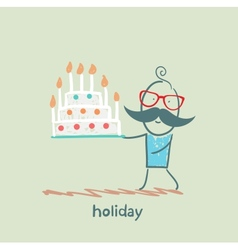 Holiday at the person with cake vector