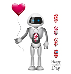 Robot with balloon heart vector