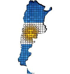 Argentina map with flag inside vector