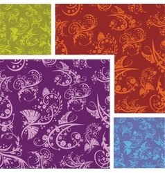 Chinese floral - seamless pattern set vector
