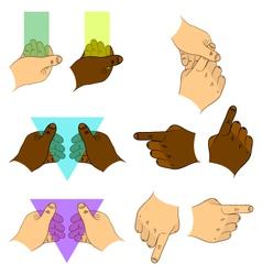 Set hands vector image