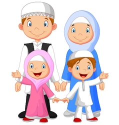 Happy muslim family cartoon vector