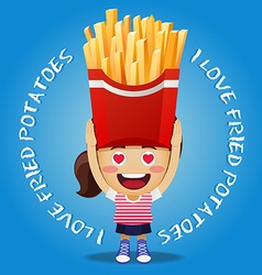 Happy woman carrying big fried potatoes vector