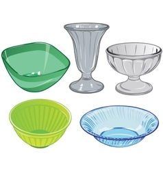 Set of glassware and glass vase and plastic salad vector