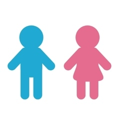 Man and woman icon blue pink restroom symbol vector