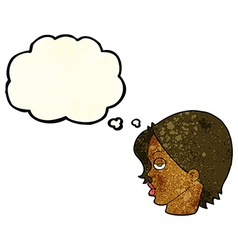 Cartoon woman raising eyebrow with thought bubble vector
