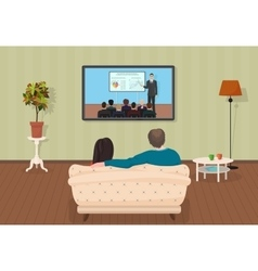 Young family man and women watching tv training vector