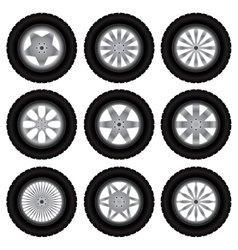 Car wheels with tires vector