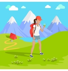 Mountain tourism concept vector