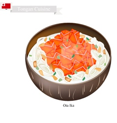 Ota ika or tongan raw fish in fresh coconut milk vector