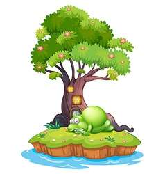 A monster sleeping under the treehouse in the vector image vector image