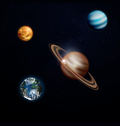 a set of planets in space saturn earth venus vector image
