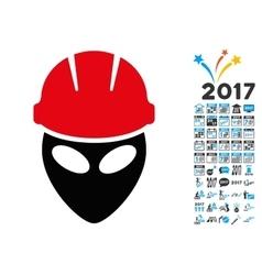 Alien Worker Icon with 2017 Year Bonus Pictograms vector image vector image