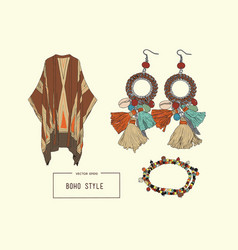 Bohemian fashion style set boho and gypsy clothes vector
