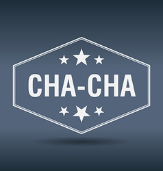 Cha-cha hexagonal white vintage retro style label vector
