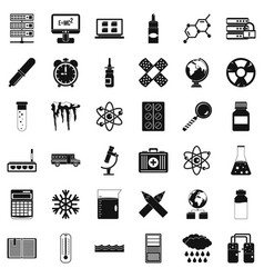 Chemistry icons set simple style vector
