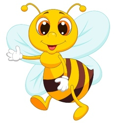 Cute bee cartoon waving vector