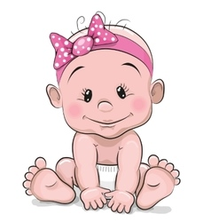 Cute cartoon baby girl vector