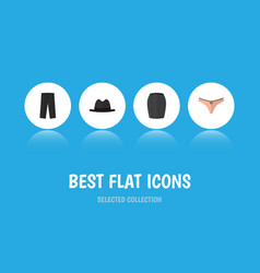flat icon clothes set of lingerie panama stylish vector image vector image