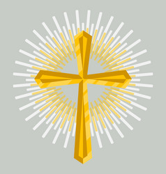golden church cross icon isolated vector image