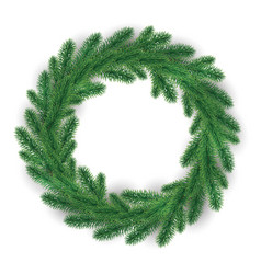 Green christmas wreath on white background vector