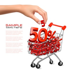 hand with shopping cart with sale vector image vector image