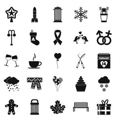 Holiday icons set simple style vector