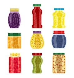 Homemade jam jars vector