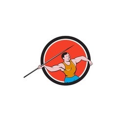 Javelin throw track and field circle cartoon vector