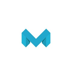 Logo m letter blue 3d mockup isometric graphic vector