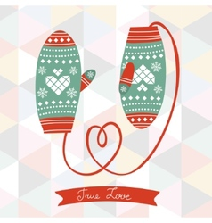 Mittens with rope in a from of heart vector image vector image