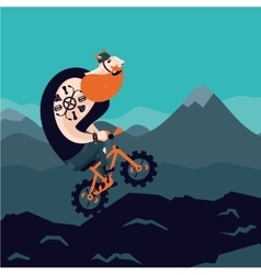 Mountain bike Big man cycling Cartoon vector image vector image