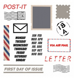 postal element set vector image
