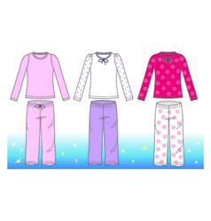 Pyjamas for girl vector