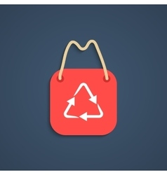 red recycle shopping bag with shadow vector image