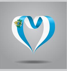 san marino flag heart-shaped ribbon vector image vector image