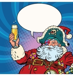 Santa claus pirate champagne toast vector