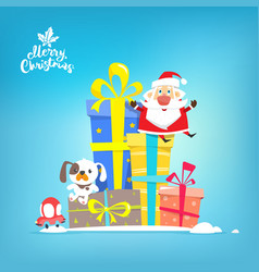 santa claus with boxes of gifts vector image