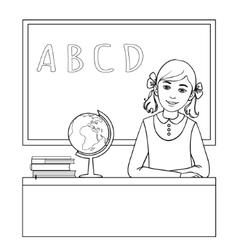 Schoolgirl at the desk near the blackboard vector image vector image